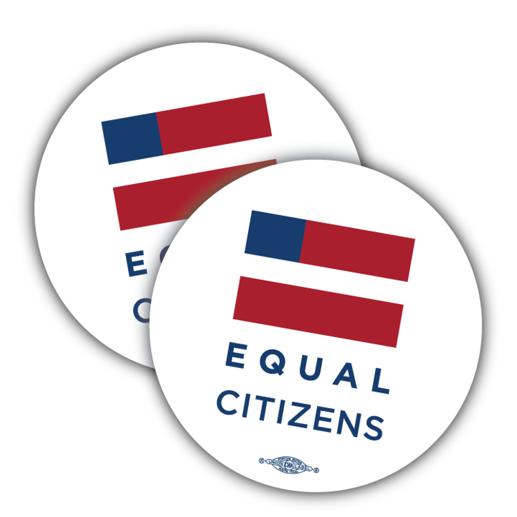 """Equal Citizens Logo - White (3.5"""" x 3.5"""" Vinyl Sticker -- Pack of Two!)"""