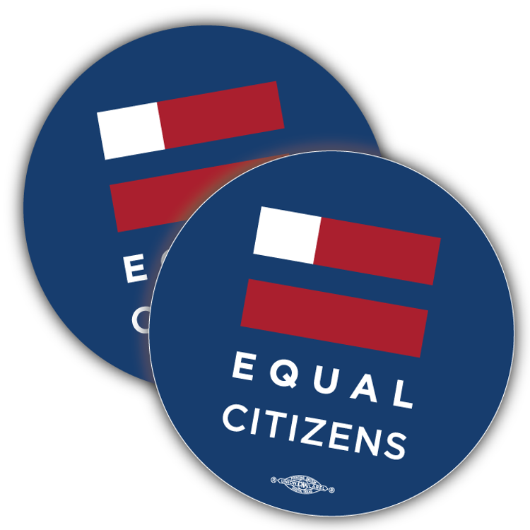 """Equal Citizens Logo - Navy (3.5"""" x 3.5"""" Vinyl Sticker -- Pack of Two!)"""
