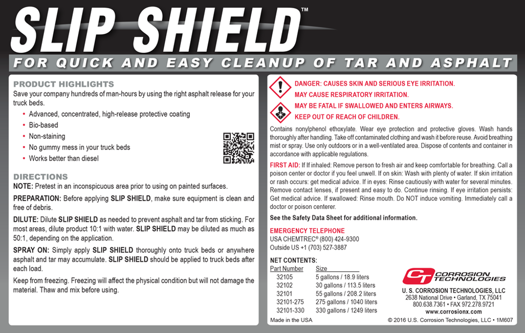 Slip Shield asphalt truck bed release
