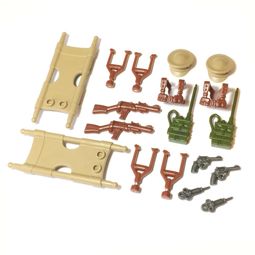 "BrickWarriors 2.5"" Scale WW2 Medic Army Builder Pack"