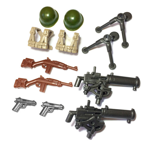 "BrickWarriors 2.5"" Scale WW2 US Gunner Army Builder Pack"