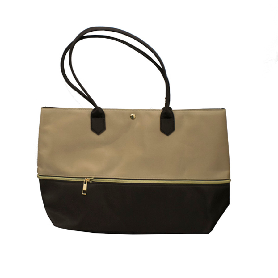 Expandable Tote Bag with Zipper Detail in Microfiber Fabric