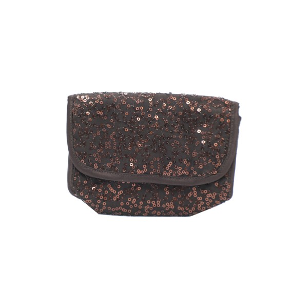 Chocolate Bag With Rose Gold Copper Sequin