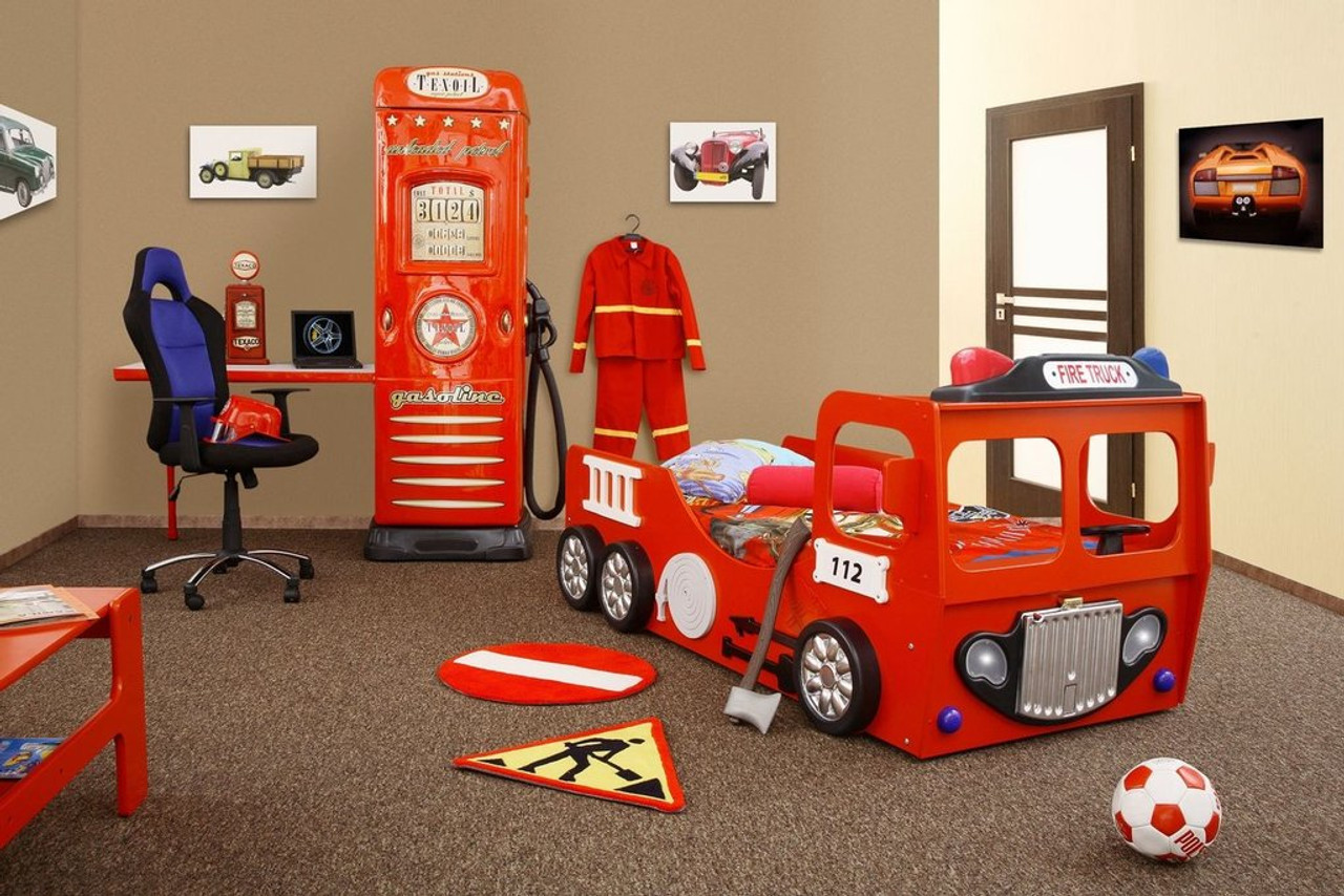 Fire Truck Bed ECO Materials Durable Wooden Frame Slabs Red ...