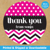 Personalized Party Favor Stickers: Chevron Dot