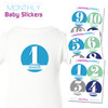 Mod Blues Baby Month Stickers