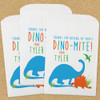 Personalized Paper Favor Bags: Dino-Mite Birthday Blue