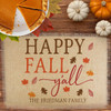 Personalized Happy Fall Y'all Jute Placemat