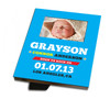Personalized Birth Announcement Picture Frame Born to Rock Blue