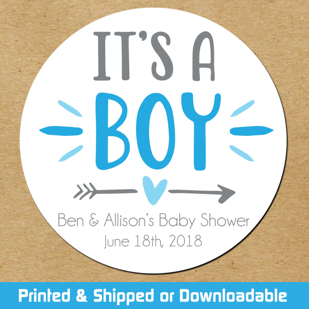 Personalized Baby Shower Favor Stickers: It's A Boy