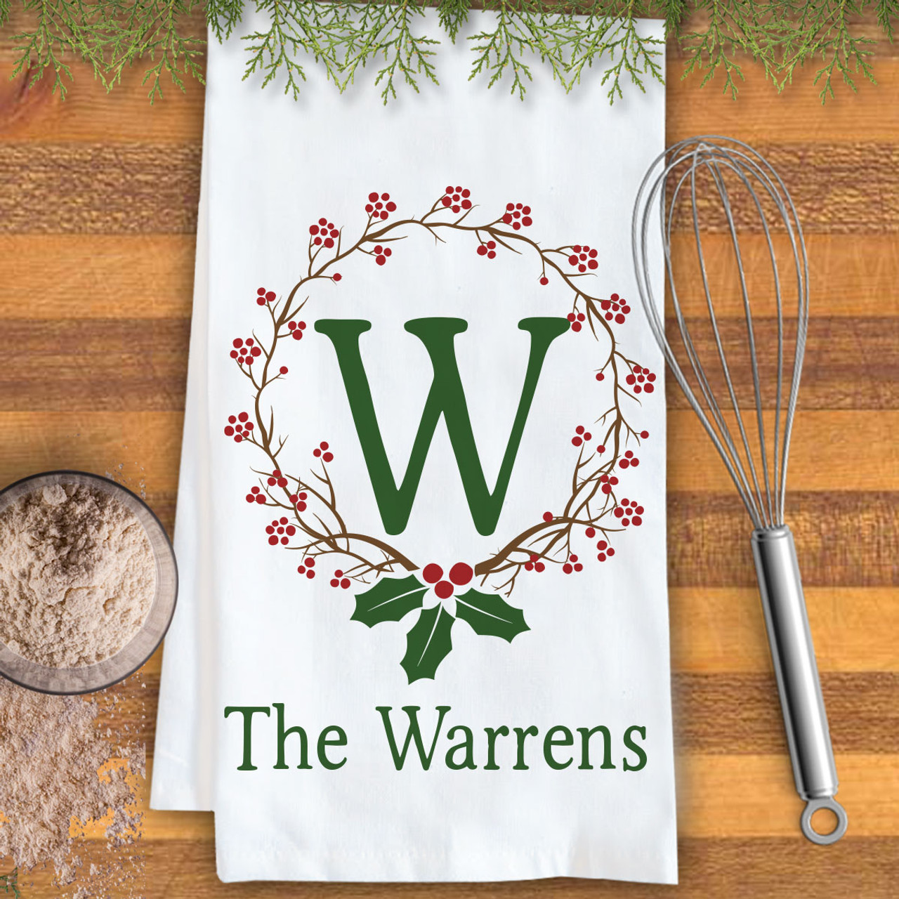 Monogrammed Kitchen Towels   Personalized Holiday Holly Monogrammed Kitchen Towel