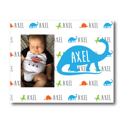 Personalized Name Game Picture Frame: Dino Blue