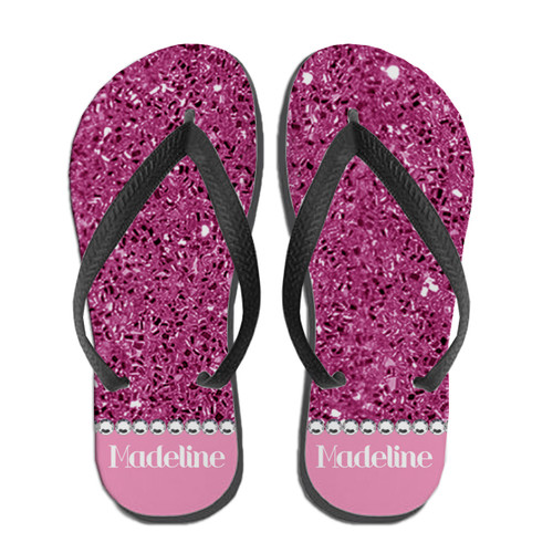 Personalized Blinged Out Babe Flip Flops Pink