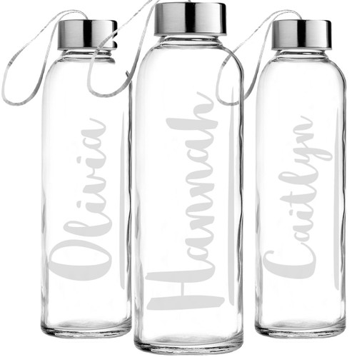 Personalized Flourish Etched Glass Water Bottle