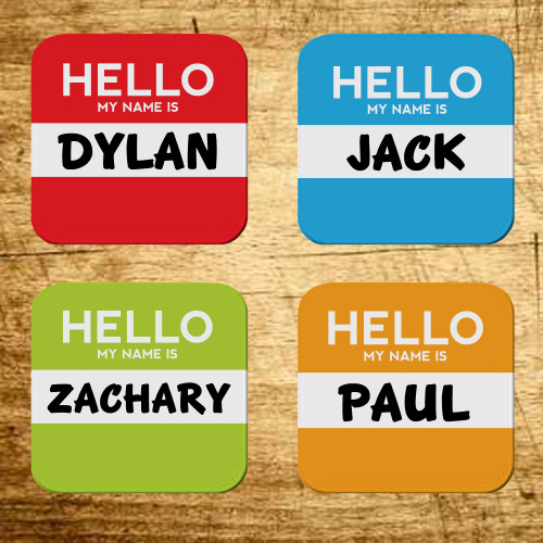 Personalized Hello My Name Is Coaster Set