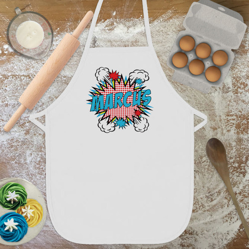 Personalized Pop Art Kid's Apron Red & White