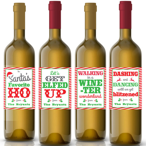 Funny Custom Christmas Wine Labels