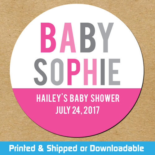 Personalized Baby Shower Favor Stickers Pink Color Wheel