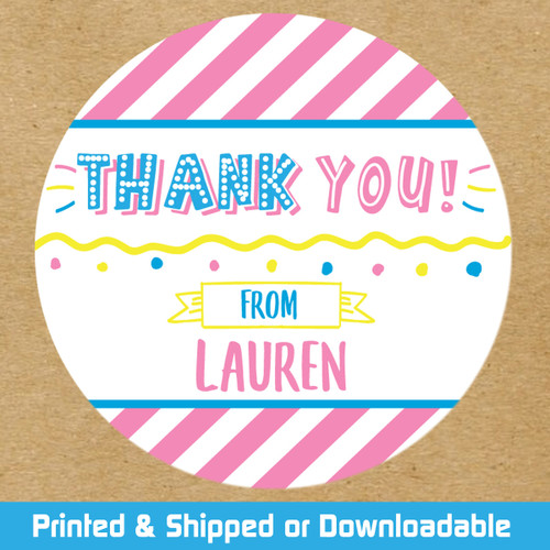 Personalized Party Favor Stickers: Party Time Pink