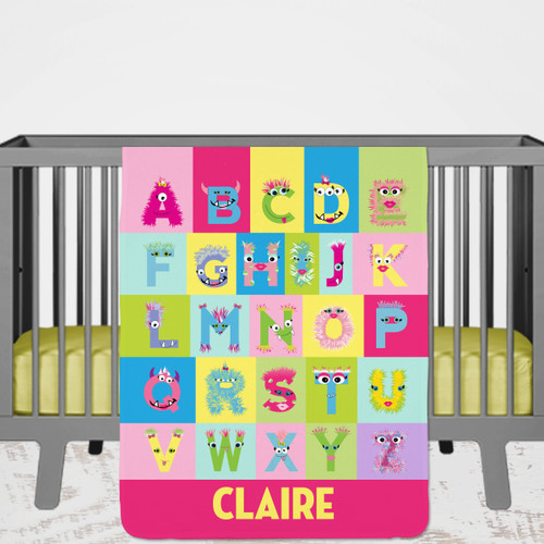 Personalized Monster Baby Name Blanket for Baby Girls