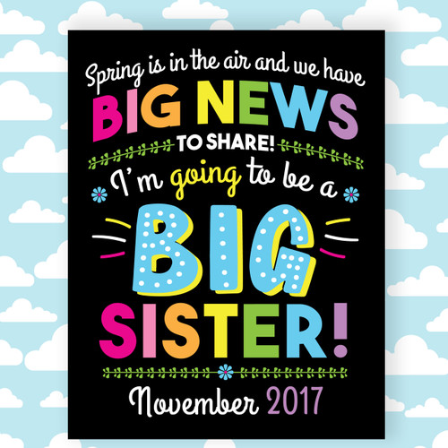 Printable Big Sister Announcement Sign for Spring