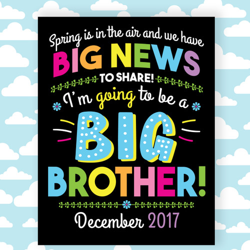 Printable Big Brother Announcement Sign for Spring