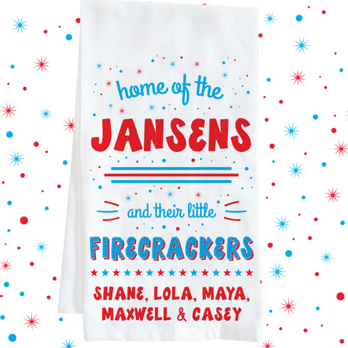 Personalized Little Firecrackers Family Kitchen Towel