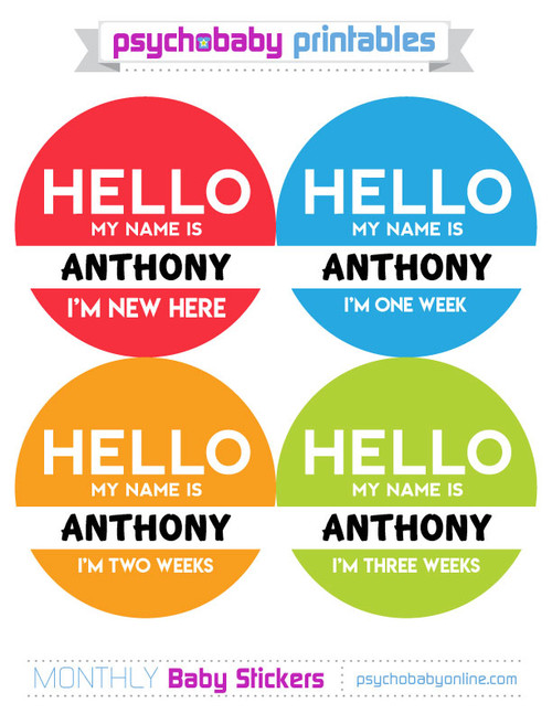 Personalized Hello My Name Is Baby Month Stickers Optional First Weeks 2