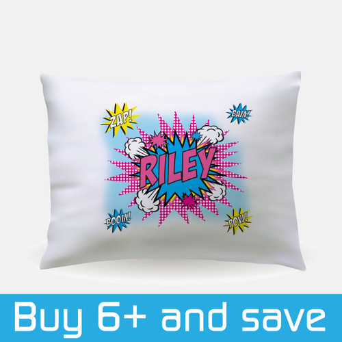 Personalized Pop Art Sleepover Pillowcase Pink