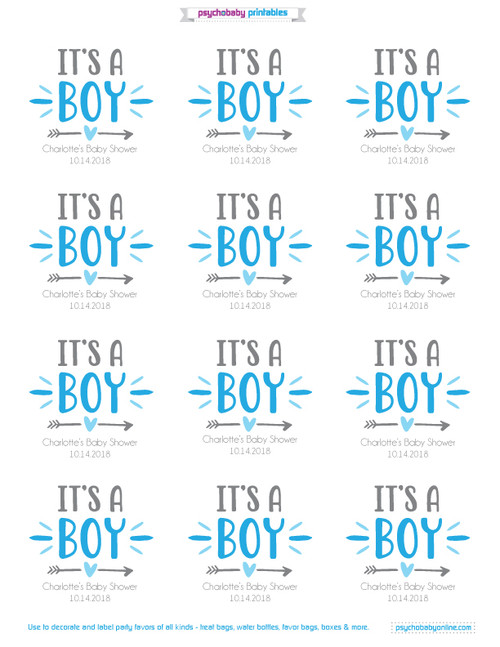 Personalized Baby Shower Favor Stickers Its A Boy
