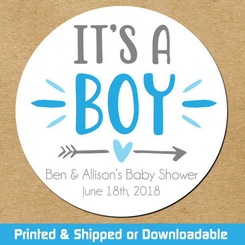 Personalized Baby Shower Favor Stickers: Itu0027s A Boy