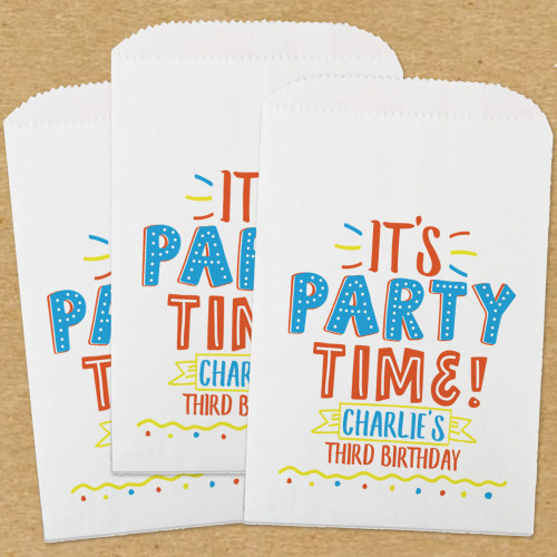 Personalized Paper Favor Bags: Party Time Blue