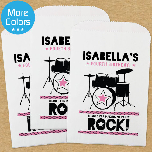 Personalized Paper Favor Bags: Pink Rockstar Birthday