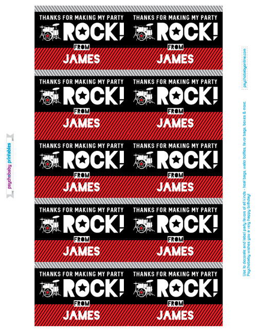 personalized red rockstar birthday favor labels gable boxes