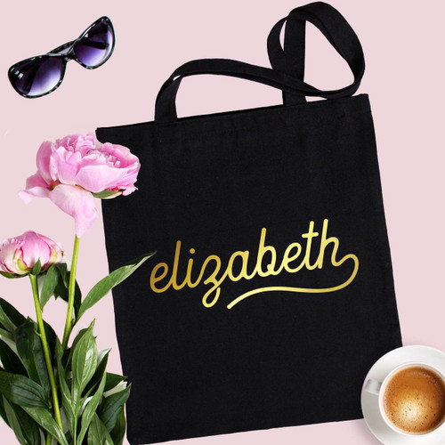 Personalized Gold Name Tote Bag