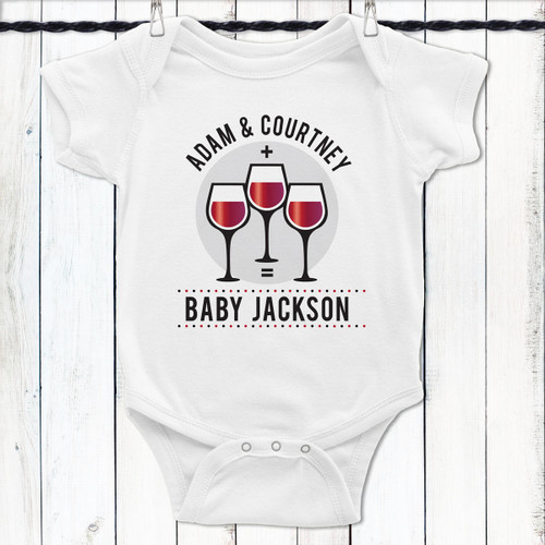Personalized Mommy + Daddy + Wine = Me Baby Shirt