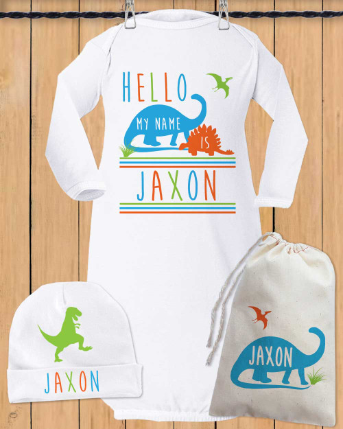 Personalized baby gifts psychobaby personalized hello dino baby gown set negle Choice Image