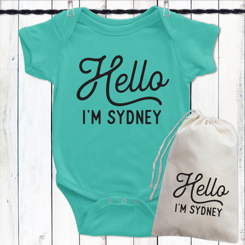 Personalized baby gifts psychobaby personalized hello baby shirt negle Gallery