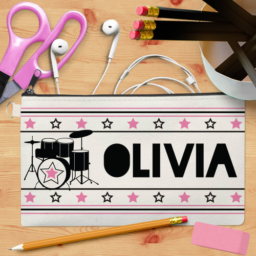 Personalized Drum Superstar Canvas Pencil Case Pink