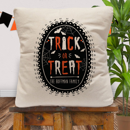 Personalized Trick or Treat Halloween Throw Pillow Cover