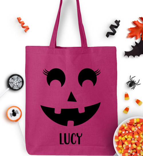 Personalized Batty Lashes Pumpkin Face Trick Or Treat Bag