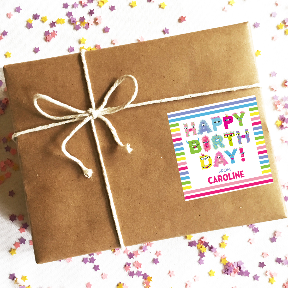 Personalized Happy Birthday Stickers Beastly Babe Monster