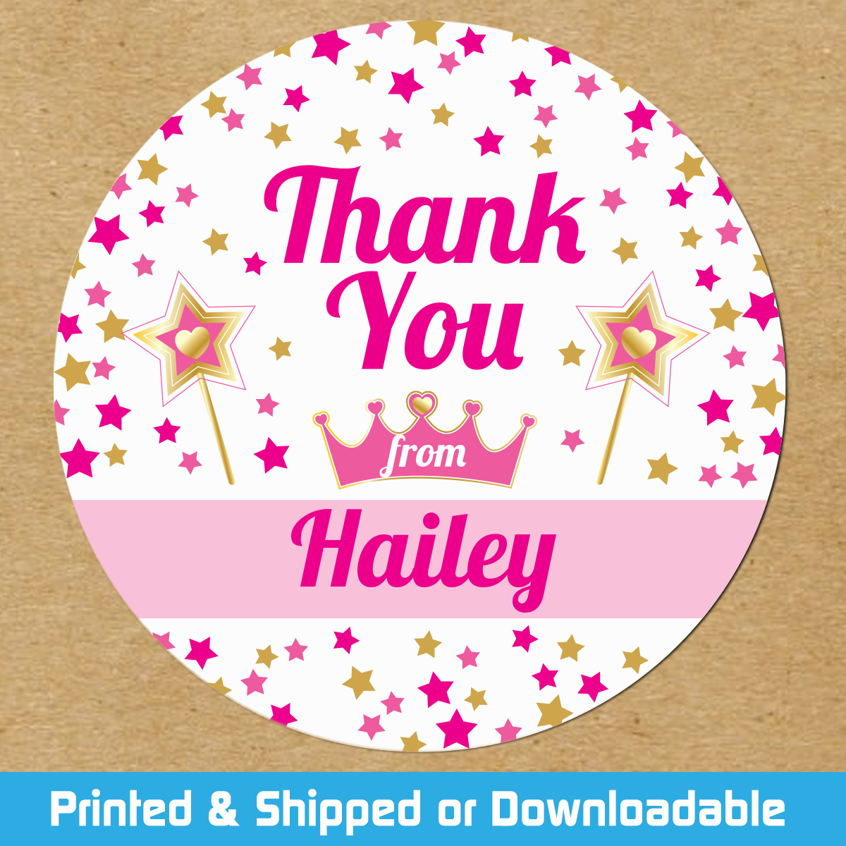 personalized princess party favor stickers