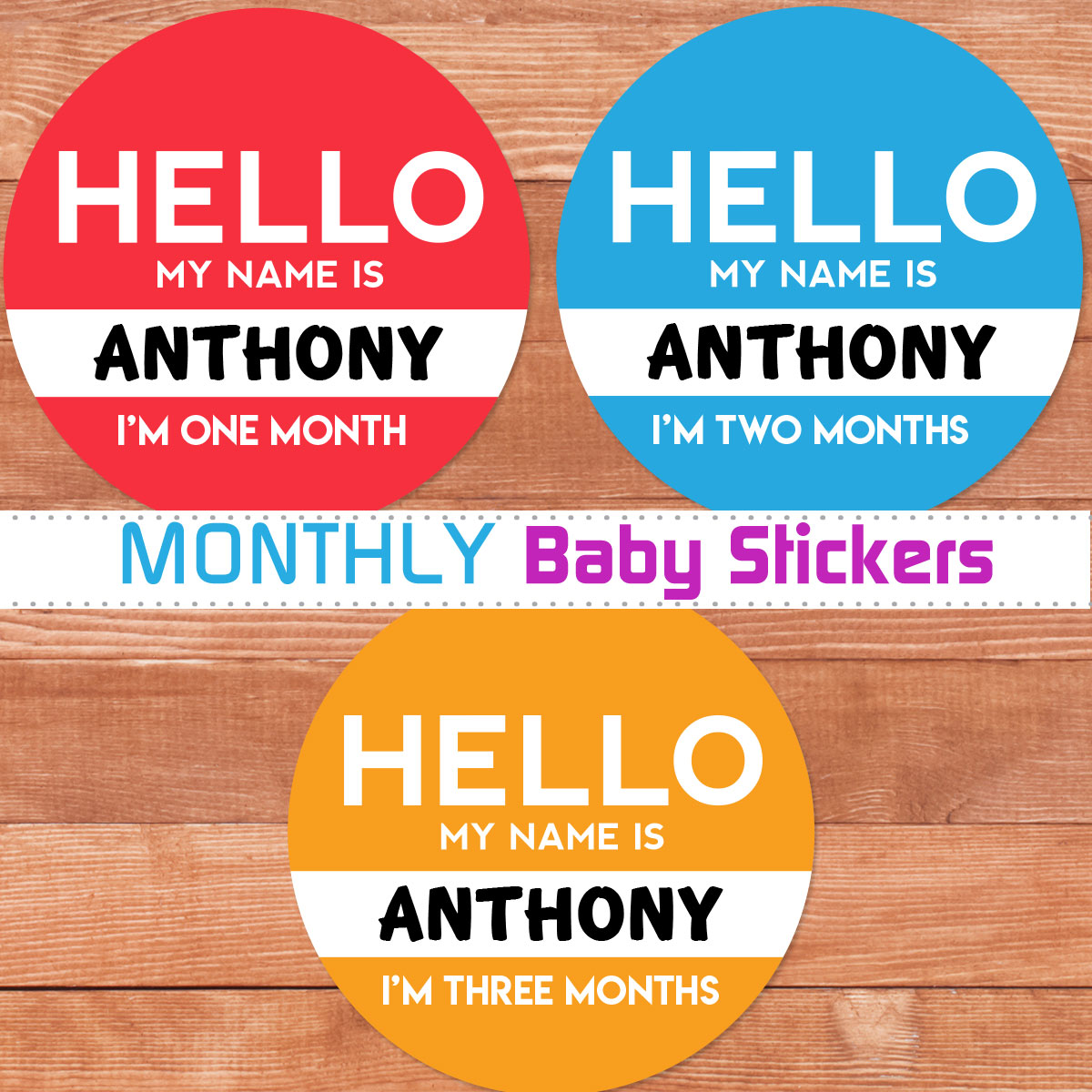 Personalized Hello My Name Is Baby Month Stickers