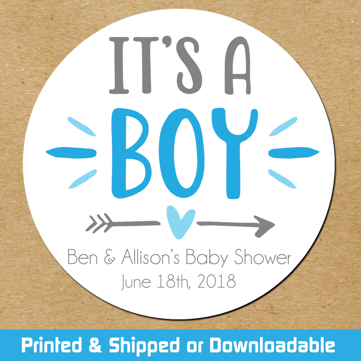 personalized baby shower favor stickers it s a boy
