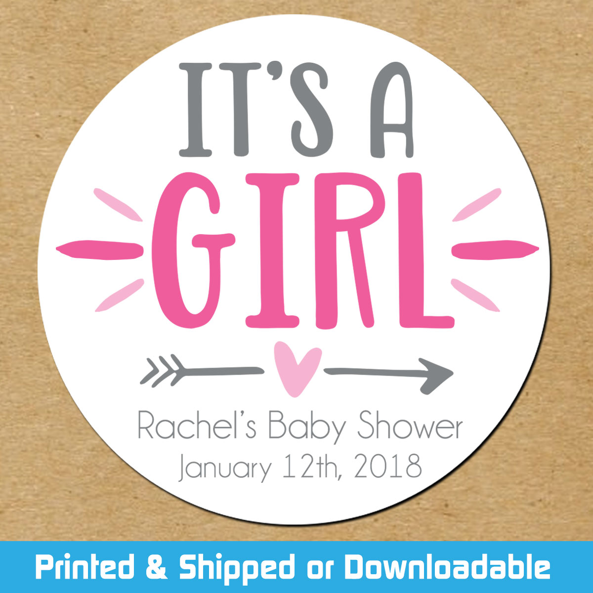 Personalized Baby Shower Favor Stickers: It\'s A Girl