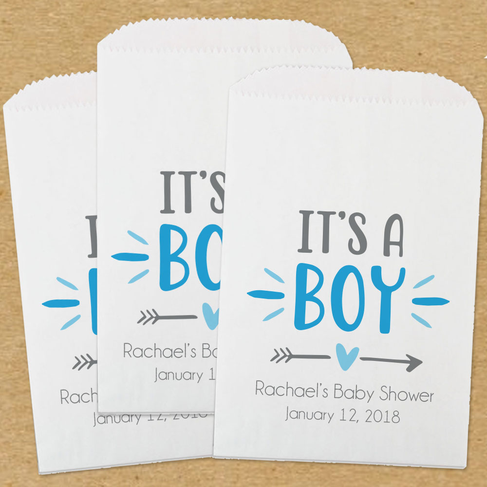 Personalized Paper Baby Shower Favor Bags Its A Boy