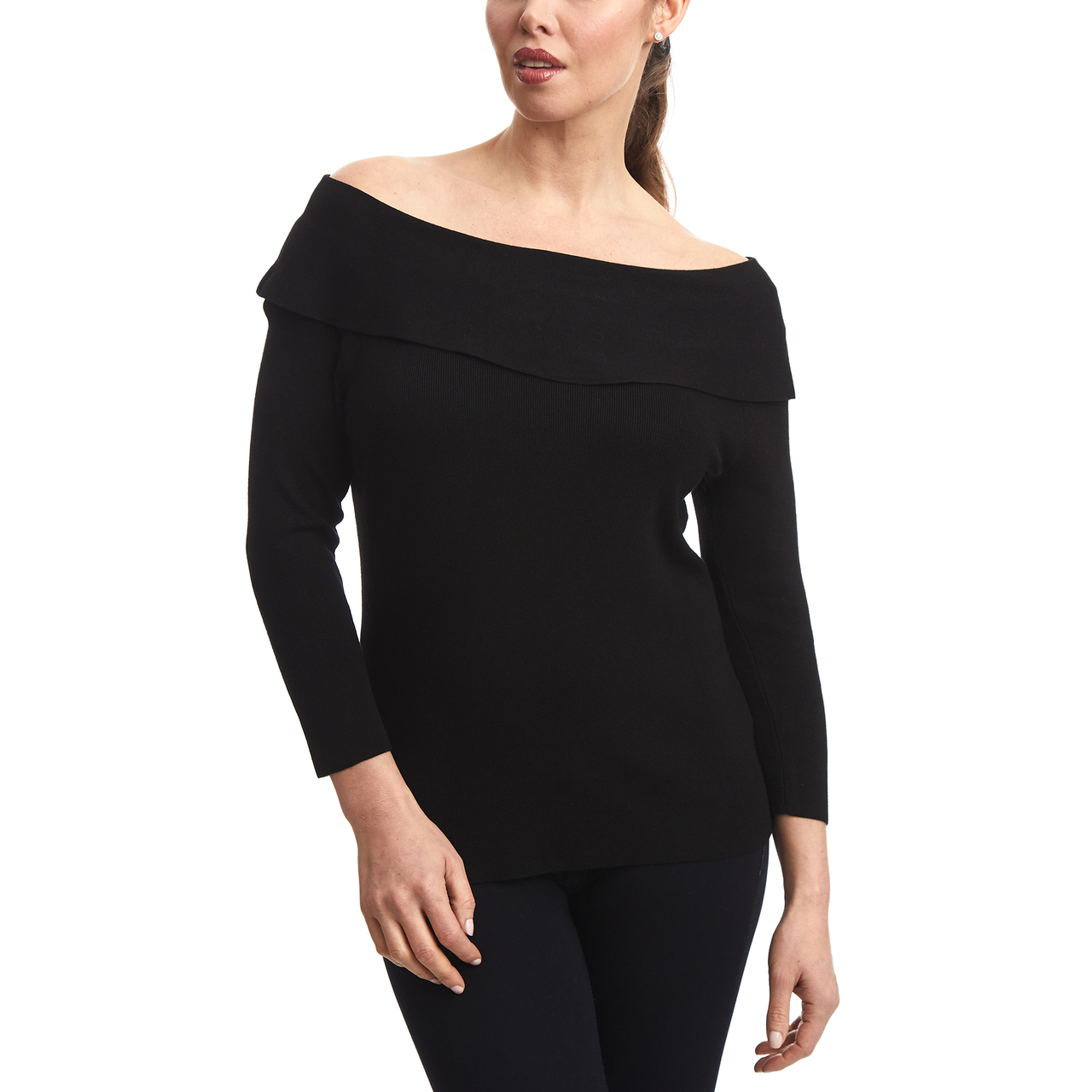 Off The Shoulder Ruffle Sweater In Black