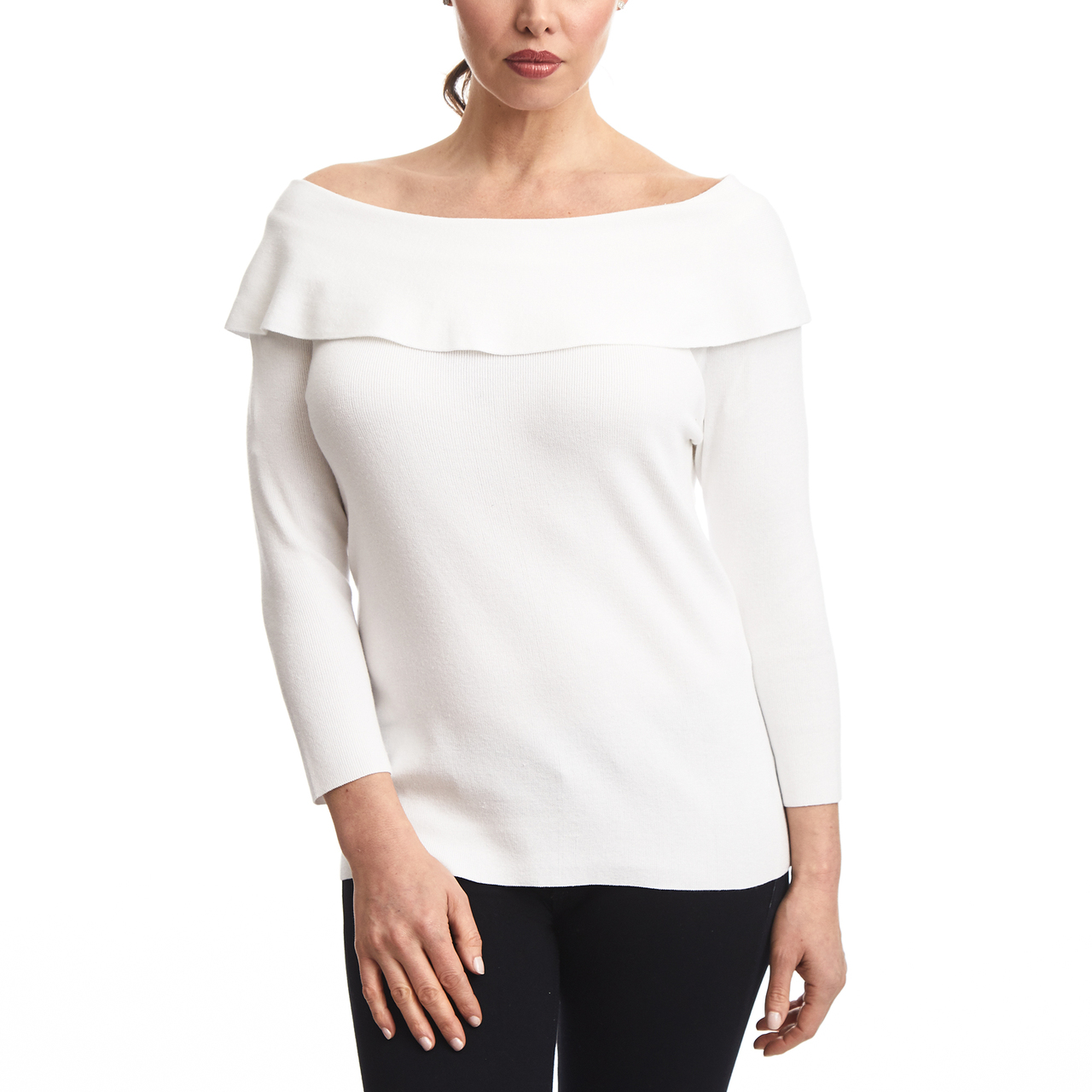 Off The Shoulder Ruffle Sweater In White