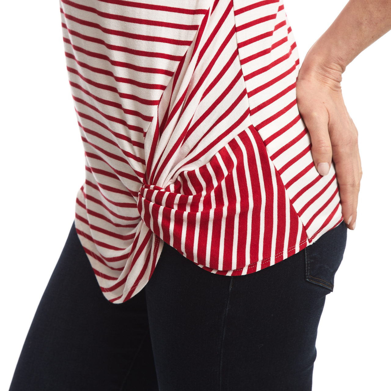 Stripe Top with Contrasting Twist in Red and White
